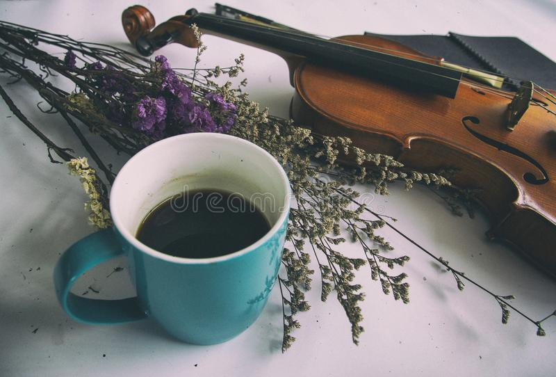 The abstract art design background of blue coffee cup put beside dried flower and violin. Vintage and art style stock image