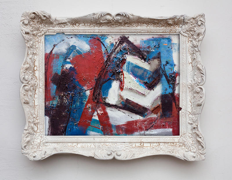 Abstract Art Expressionism Canvas In Vintage Antique White Frame ...
