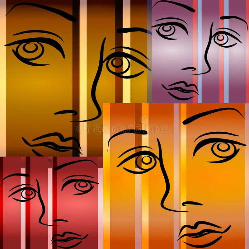 Abstract Art Female Faces royalty free illustration