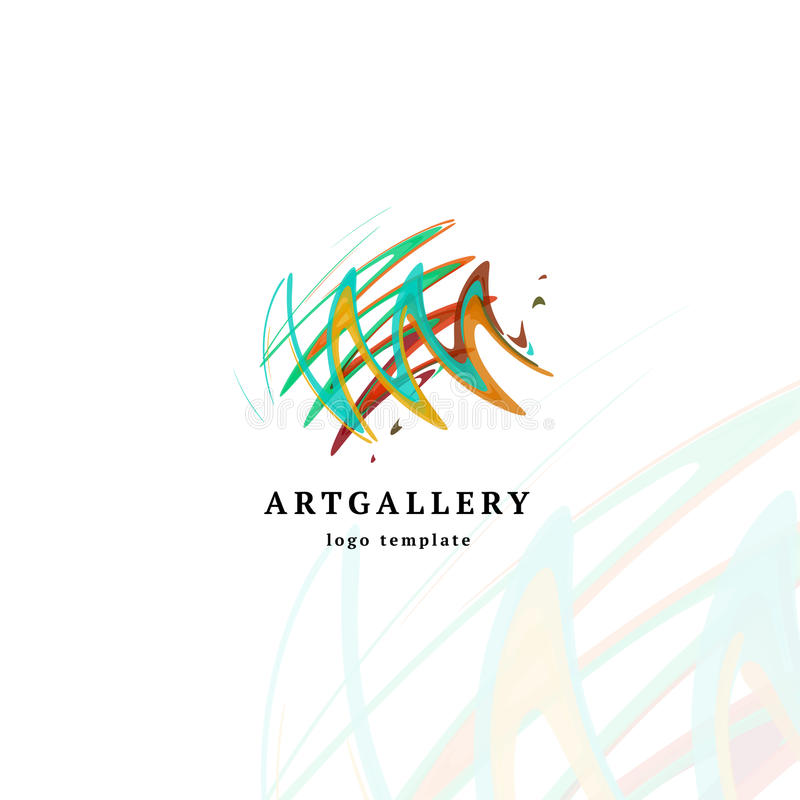 Abstract art gallery vector modern logo. Unusual isolated paint picture logotype. Bright colorful creative sketch royalty free illustration