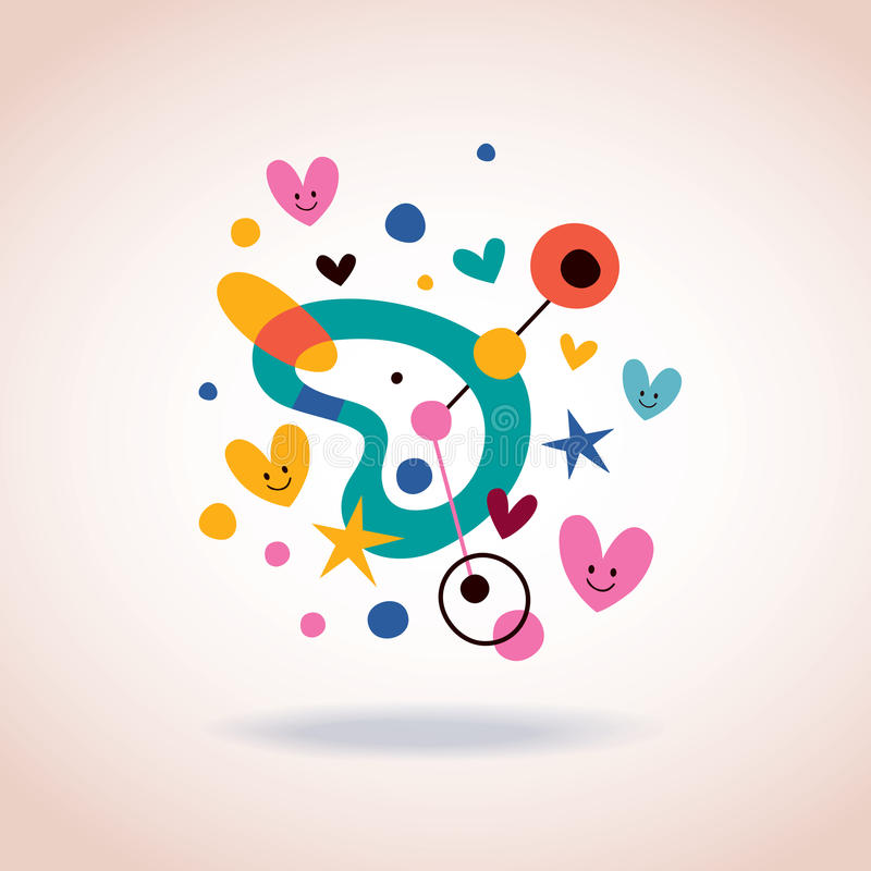 Abstract art illustration with cute hearts. Retro style stock illustration