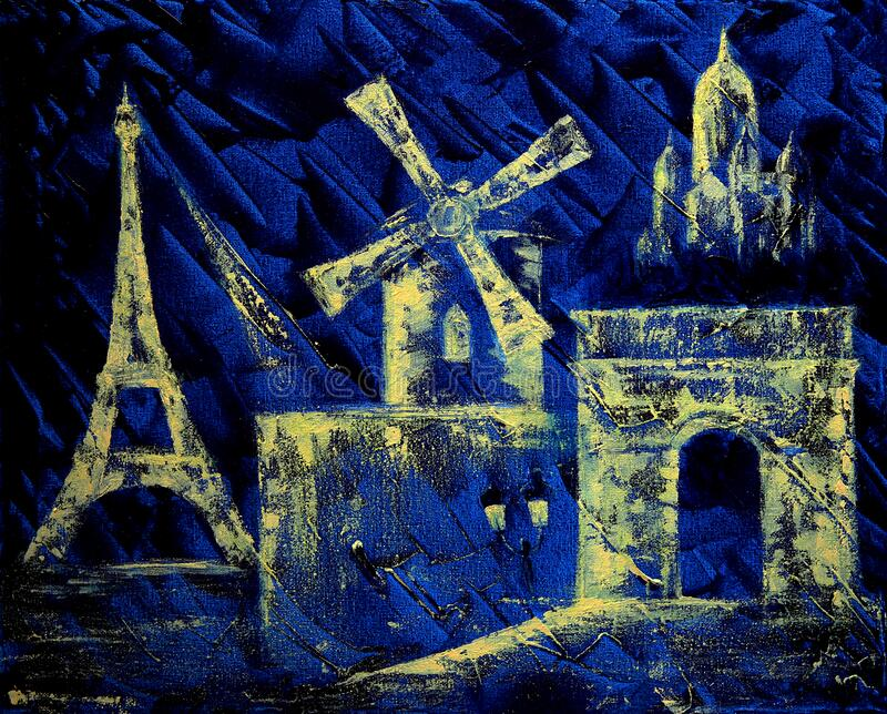 Abstract art painting of Paris royalty free stock photography