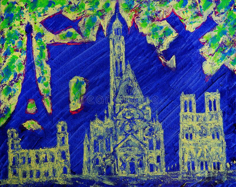 Abstract art painting of the Paris city and fishes stock photography