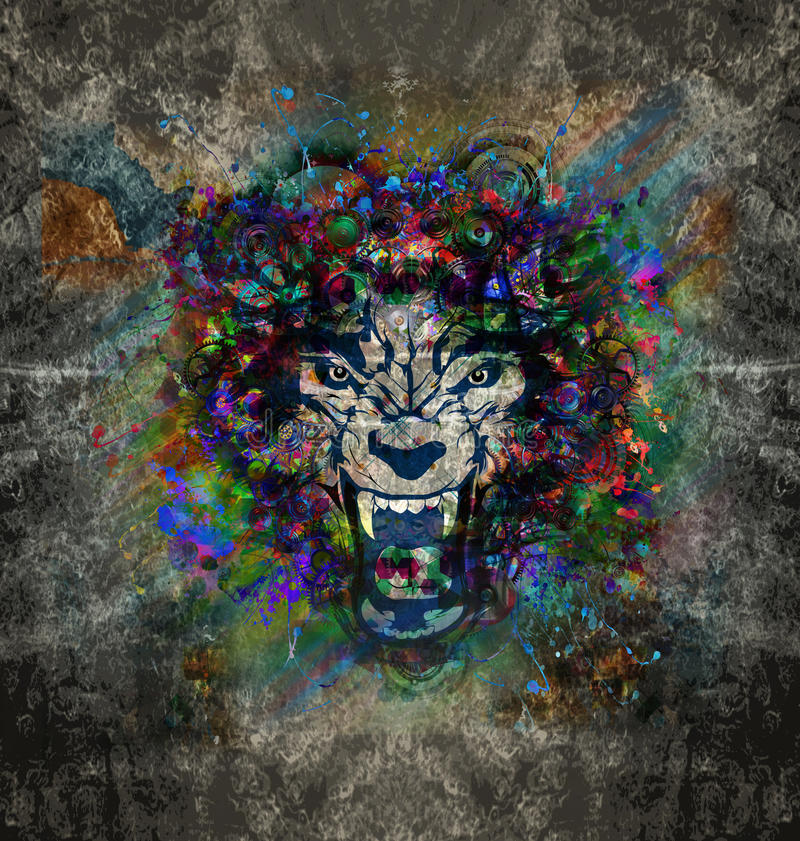 Abstract art picture with wolf stock image