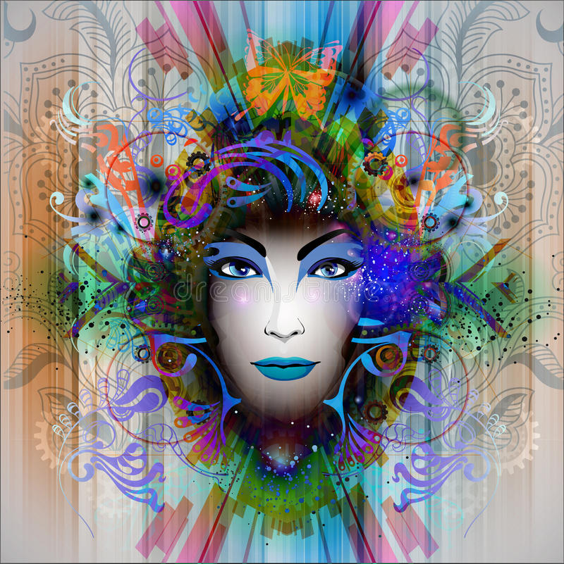 Abstract art picture with woman royalty free illustration