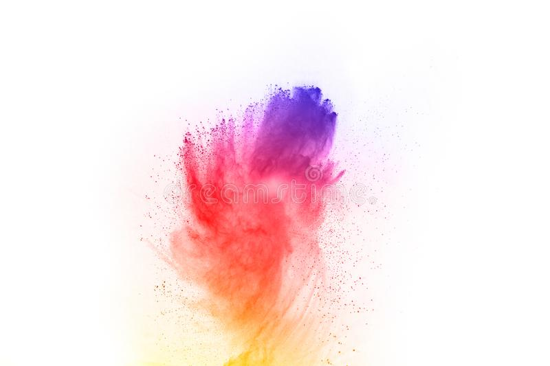 Abstract powder splatted background. Colorful powder explosion on white background. Colored cloud. Colorful dust explode. royalty free stock photos