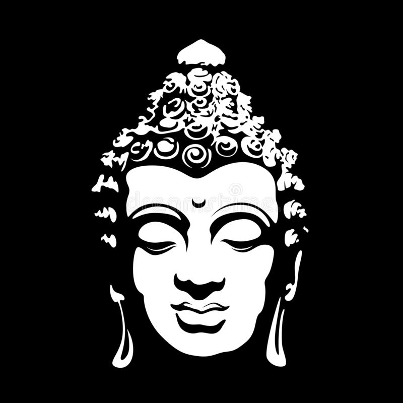 Abstract art white head buddha sign on black background vector design royalty free illustration