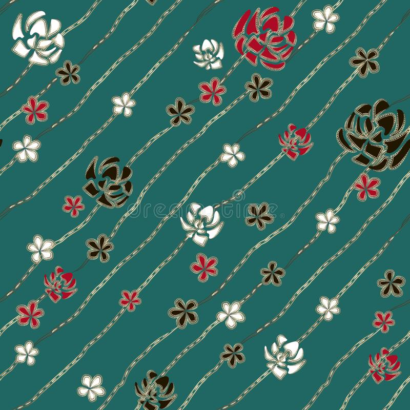 Abstract art white, red and black roses like brooch and jewelry diamond chains on turquoise background. vector illustration