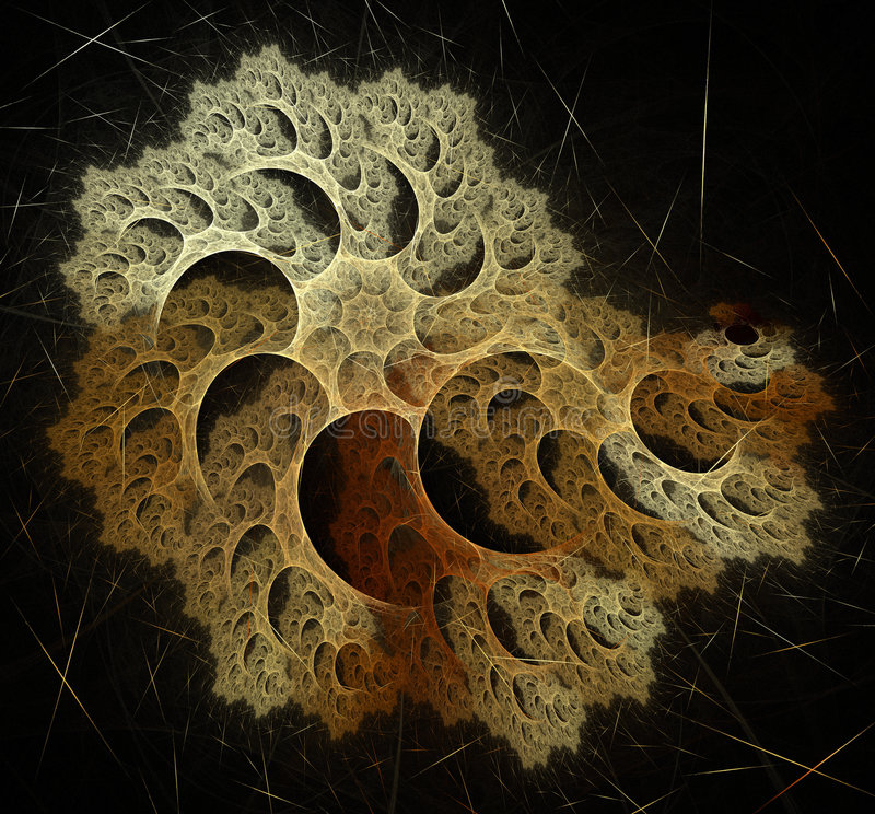 Abstract artificial computer generated iterative flame fractal art image of a sponge shell royalty free illustration