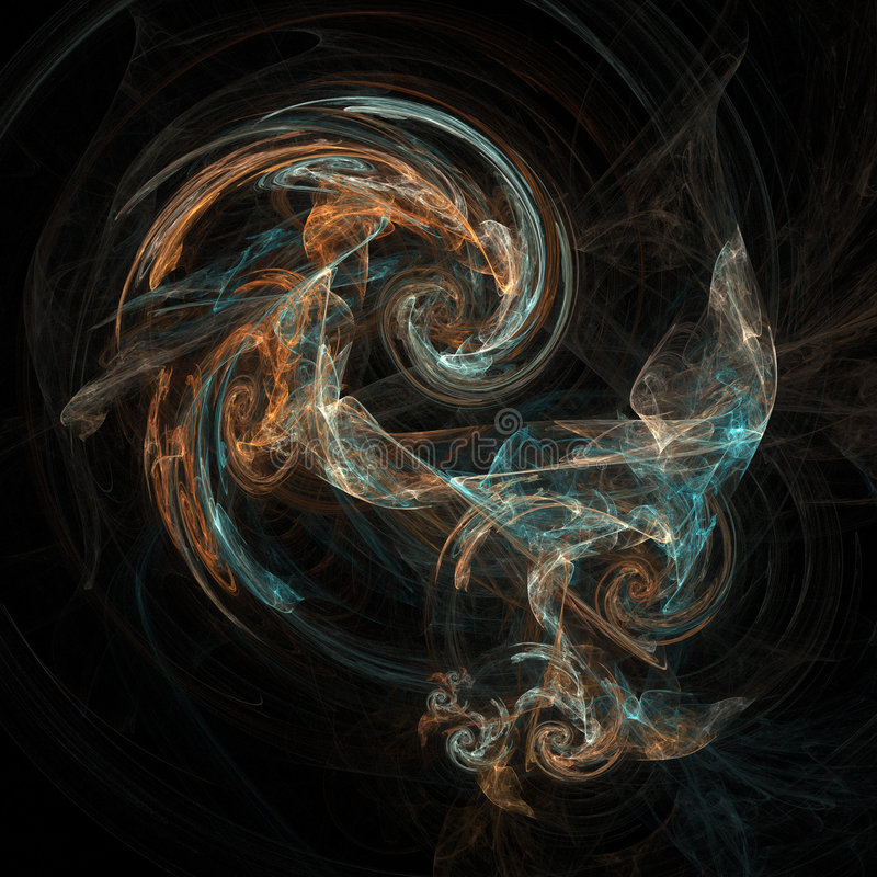Abstract artificial computer generated iterative flame fractal art image of a vortex vector illustration