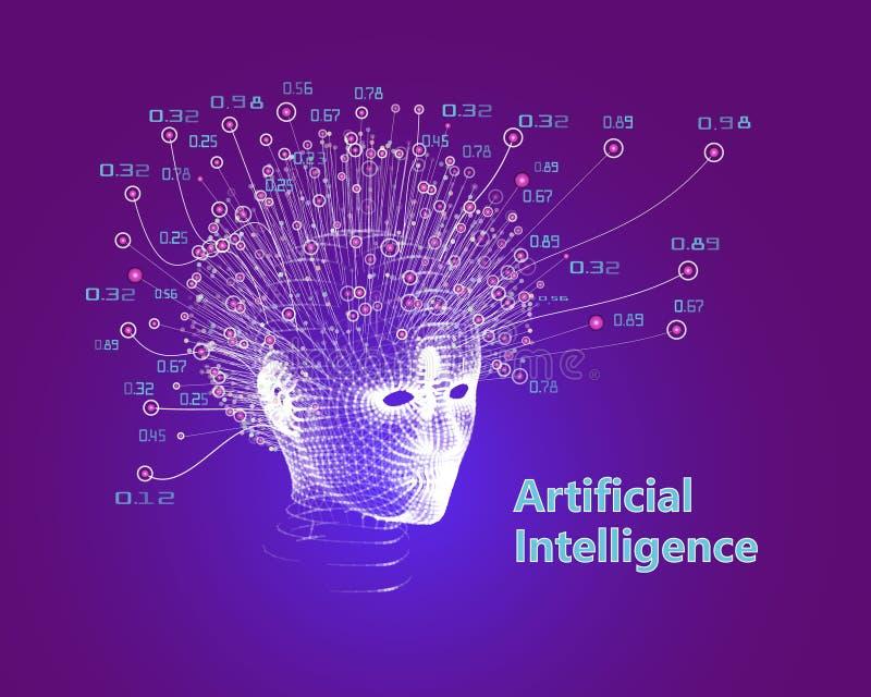 Abstract artificial intelligence concept. Grid digital human face. Big Data. Vector illustration royalty free illustration
