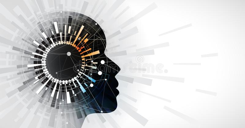 Artificial intelligence cirle vision. Technology web background. Virtual conc. Abstract Artificial intelligence. Technology web background. Virtual concept royalty free illustration