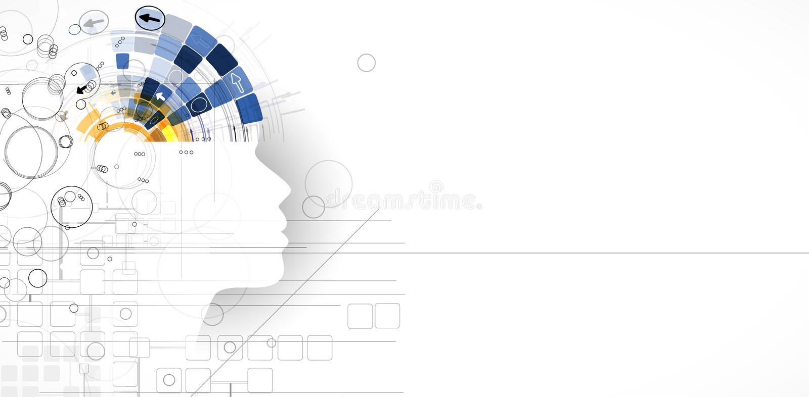 Artificial intelligence. Technology web background. Virtual concept royalty free illustration