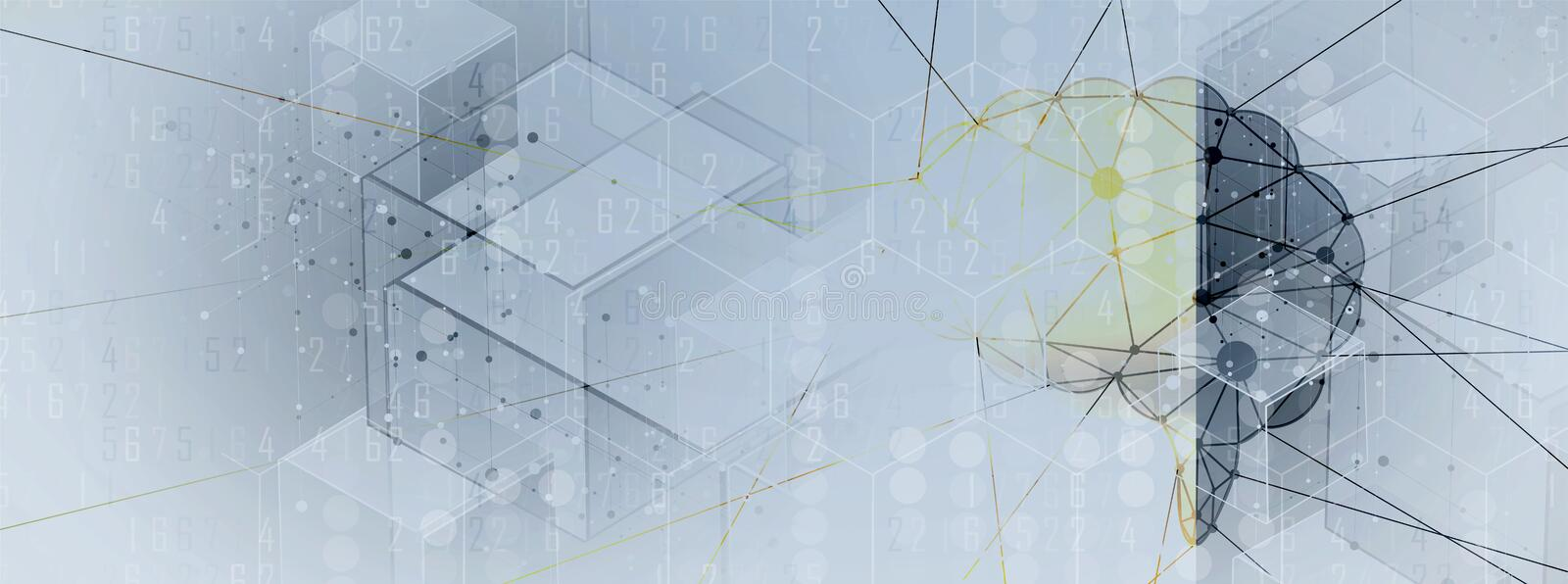 Artificial intelligence. Technology web background. Virtual concept. Abstract Artificial intelligence. Technology web background. Virtual concept vector illustration