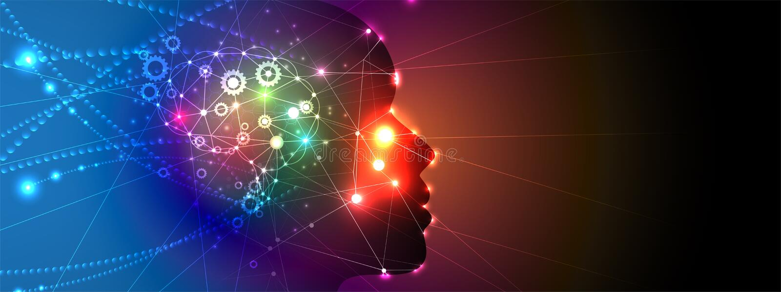 Artificial intelligence woman with hair like neuron net. Technology web background. Virtual conc. Abstract Artificial intelligence. Technology web background