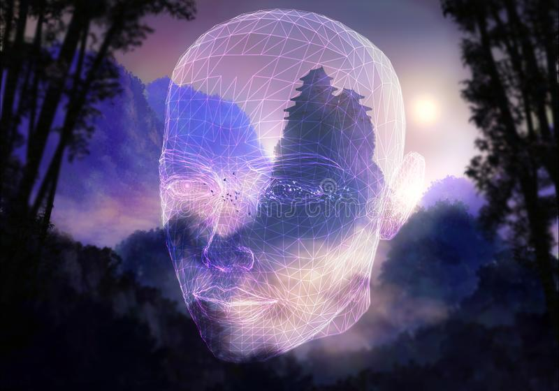 Abstract Artistic Artificial Intelligence Interface In A drawing natural Background. Abstract artistic unique glowing artificial intelligence head interface in a stock illustration