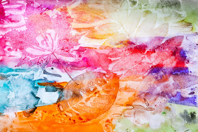 Abstract artistic background, autumn leaf prints stock illustration
