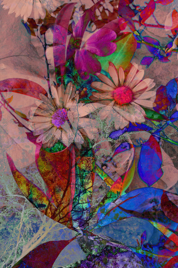 Abstract artistic background. Artistic, floral, abstract background with various flowers royalty free stock photography