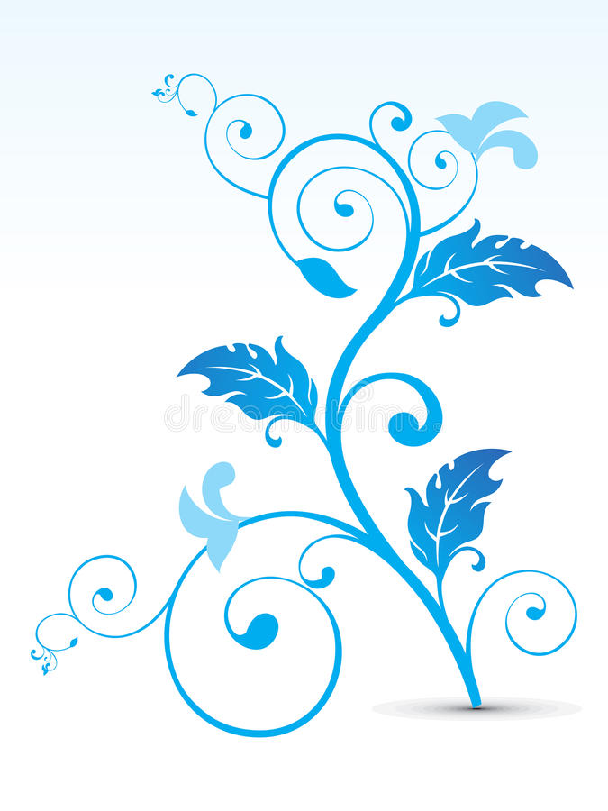 Abstract artistic blue floral stock illustration