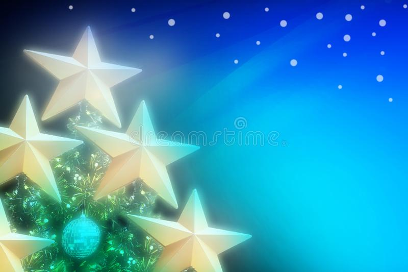Abstract Artistic Blue Green turquoise gradient illustration background of golden stars on Christmas tree with soft blur image stock illustration