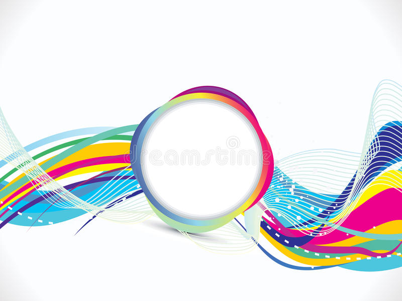 Abstract Volleyball On Colorful Wave Background: Abstract Artistic Colorful Line Wave With Circle