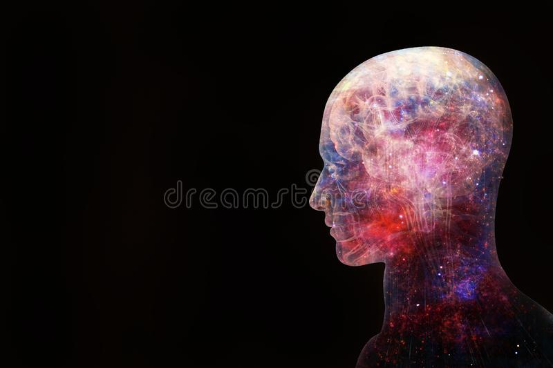 Abstract Artistic 3d Illustration Of A Modern Human Artificial Intelligent Interface On A Black Background vector illustration