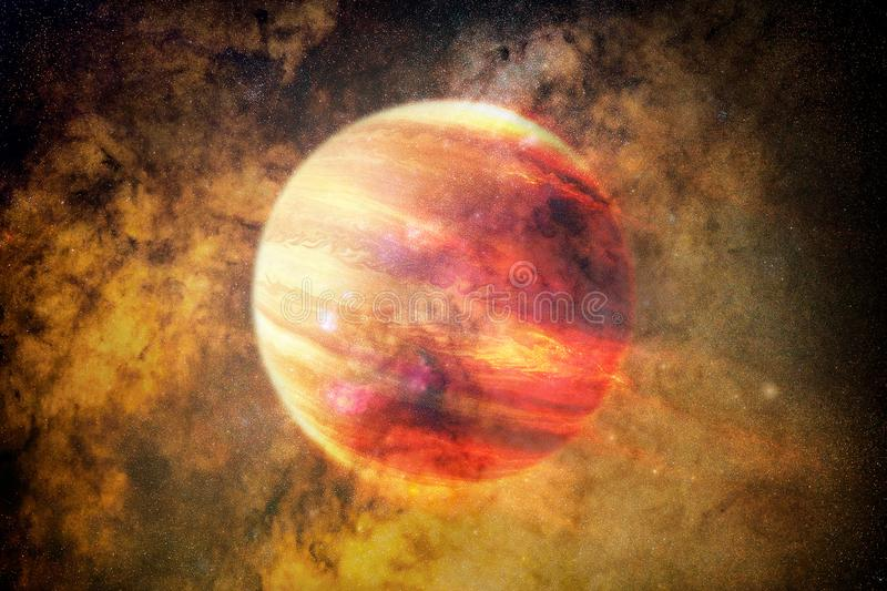 Artistic Abstract Red Planet in A Colorful Galaxy Background. Abstract artistic glowing red planet in a multicolored galaxy background stock photo