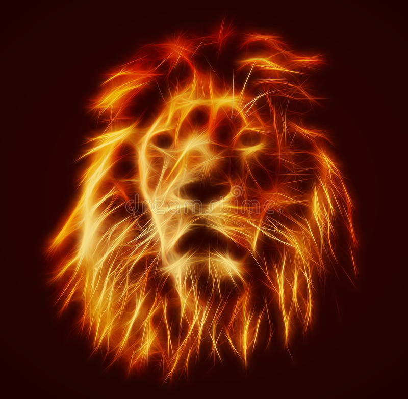 Abstract, artistic lion portrait. Fire flames fur royalty free illustration
