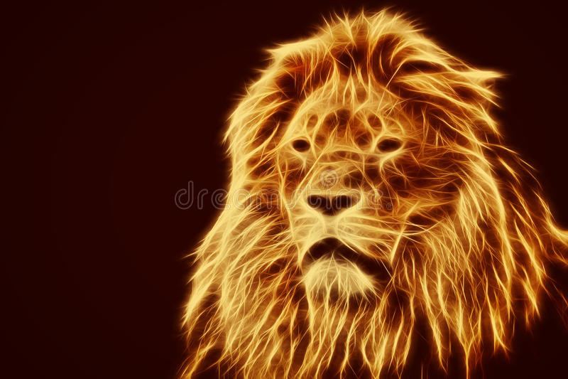 Abstract, artistic lion portrait. Fire flames fur. Black background. Big adult lion with rich mane royalty free stock photography