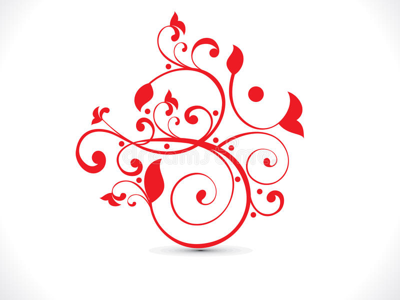 Abstract artistic red floral om text vector illustration