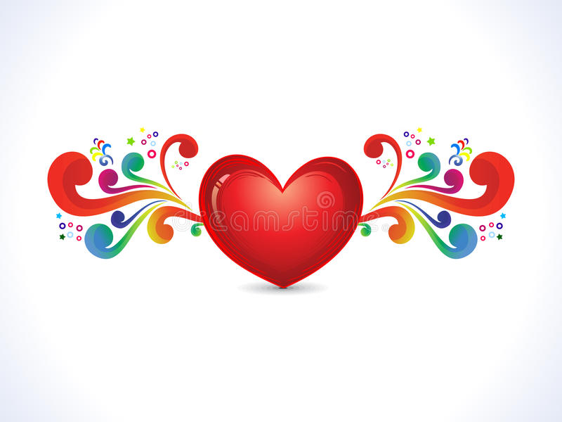 Abstract artistic shiny heart with colorful floral stock illustration