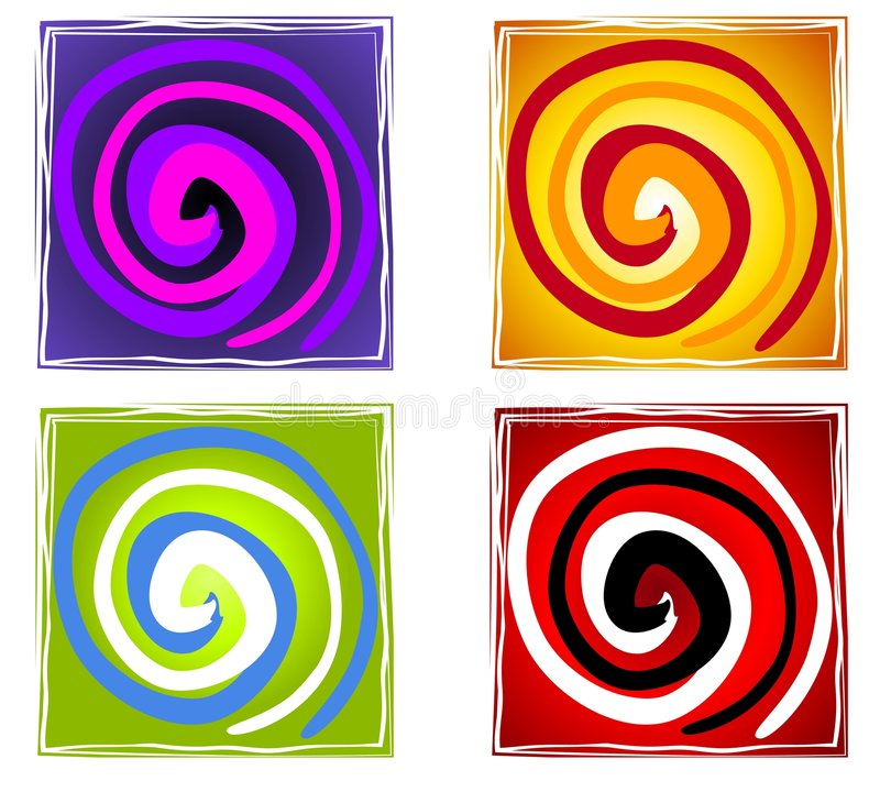 Abstract Artistic Spiral Tiles stock illustration