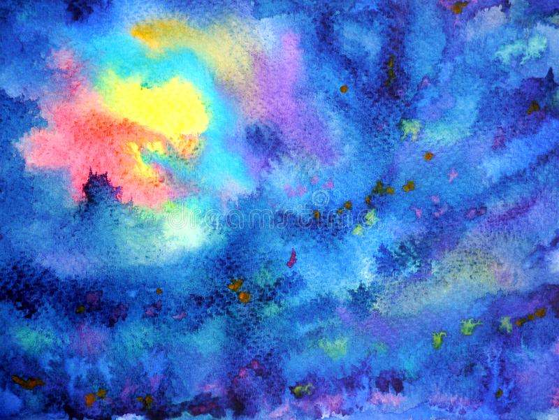 Abstract artwork yellow red light sun moon on dark blue sky night. Watercolor painting illustration background hand drawn stock photography