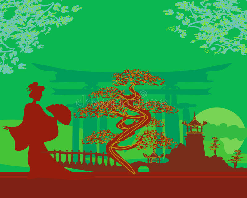 Download Abstract Asian Landscape And Geisha Stock Images - Image: 28784354