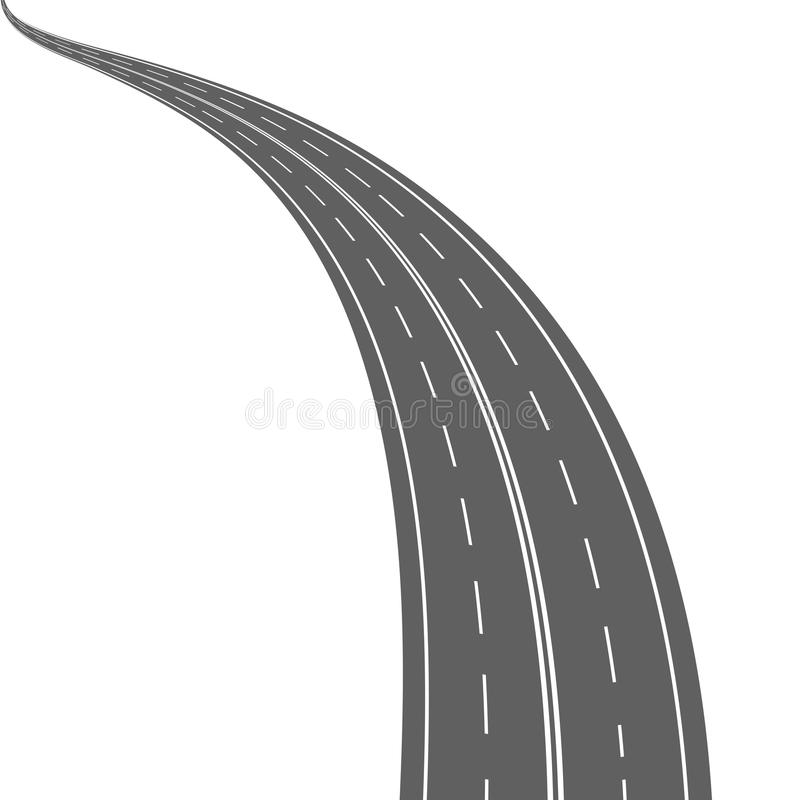 Abstract asphalt road with double solid line royalty free illustration