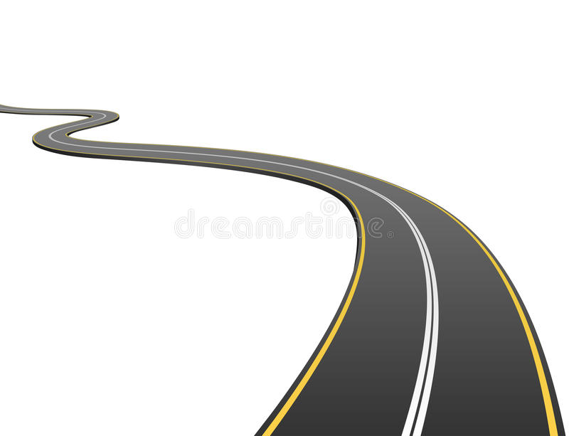 Abstract asphalt road. Going to the distance isolated on white background royalty free illustration