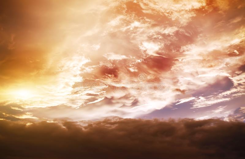 atmostphere background in gold cloudy day royalty free stock photos