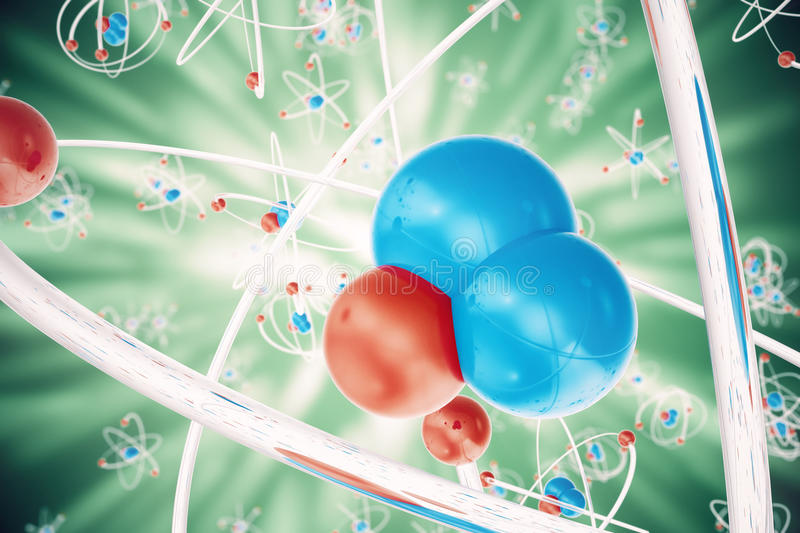 Abstract atom background, Chemistry model of molecule. atoms and electrons. Physics concept, 3d rendering. vector illustration