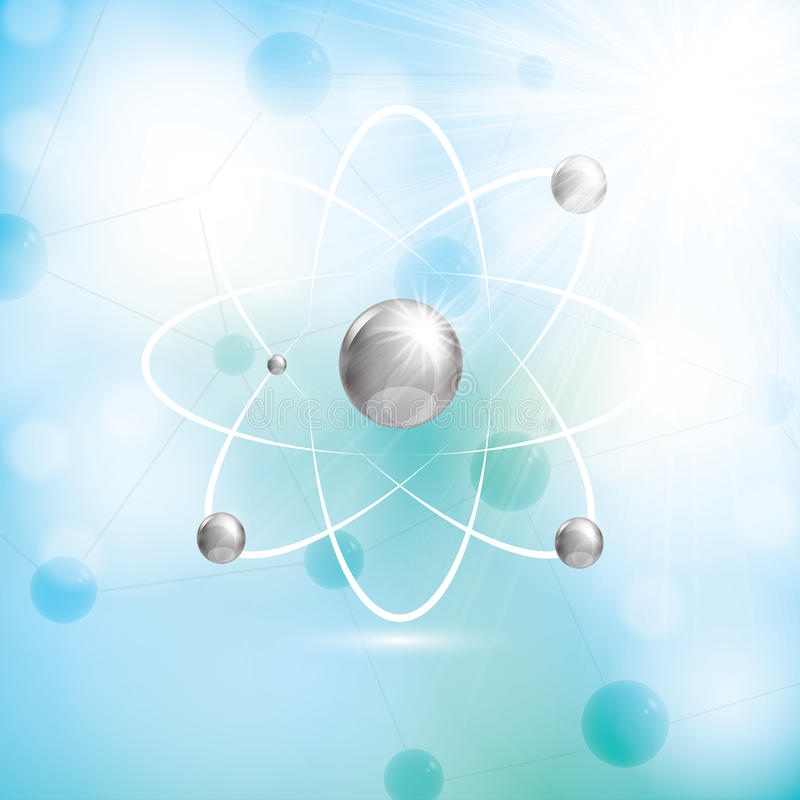 Abstract atom molecule blue colors background vector illustration