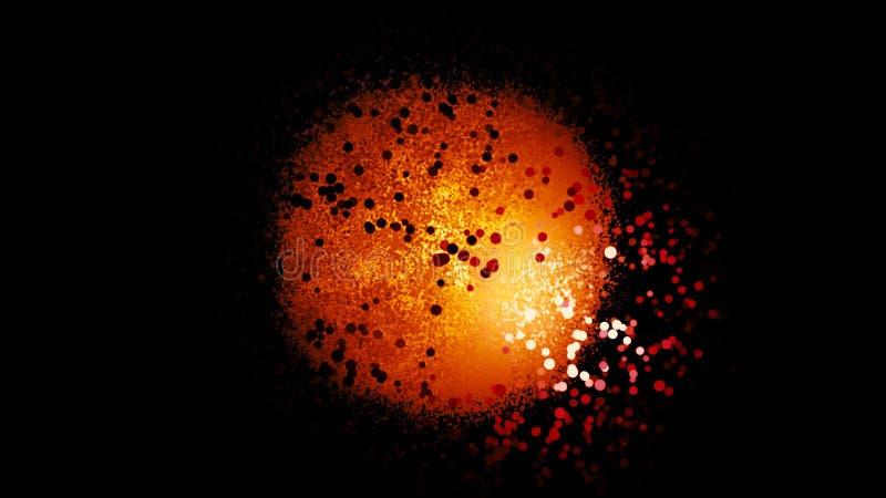 Abstract atoom met oranje schitterende nucleus en de elektronenwolk vliegend op zwarte achtergrond, natuurkundig natuurkundig nat royalty-vrije stock fotografie