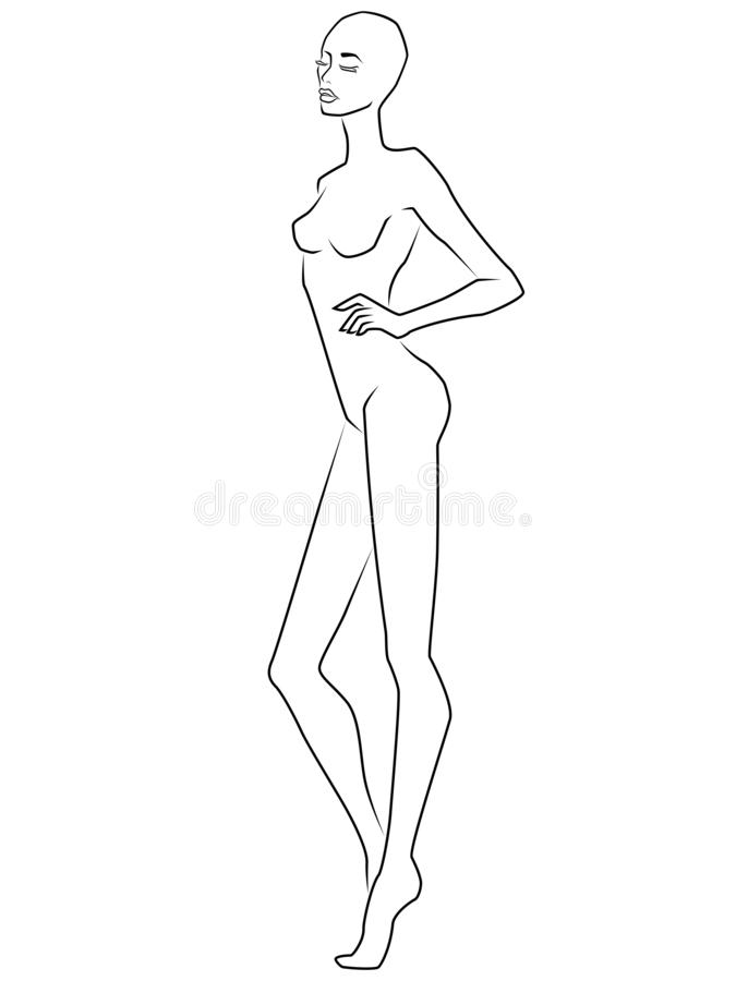 Abstract attractive and beautiful woman. Attractive woman with bald head and closed eyes isolated on the white background, view on side, hand drawing outline