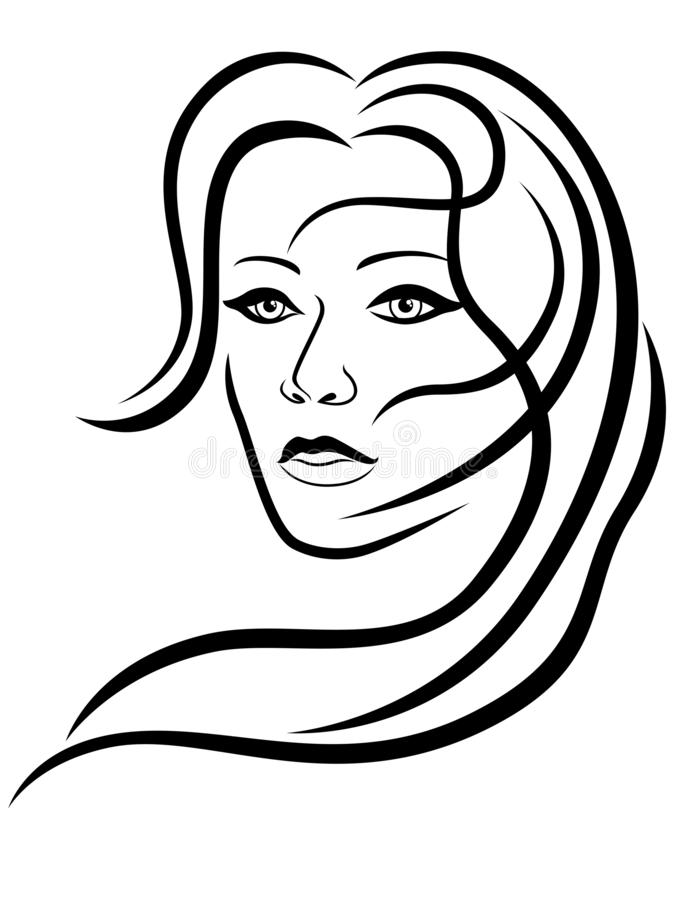 Abstract attractive woman with sensual face vector illustration