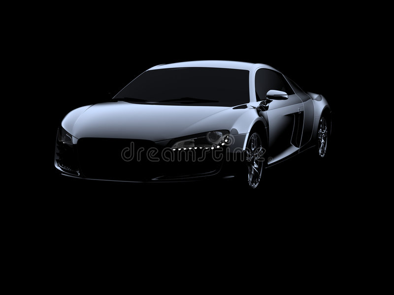 Abstract Audi R8. On black background royalty free illustration