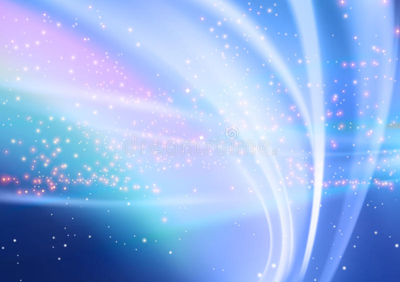 Abstract Aurora and Starry Background stock illustration
