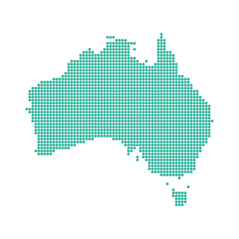 Abstract australia map dotted royalty free stock image