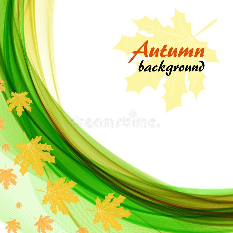 Abstract background with bright green waves and maple leaves on a white background. Abstract autumn background with bright green waves and maple leaves on a royalty free illustration