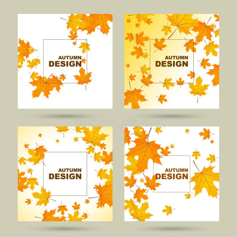 Abstract autumn background. Set of abstract autumn background with yellow leaves of maple. Vector illustration with withered foliage royalty free illustration