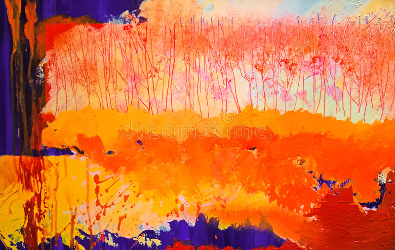 Abstract autumn, fall impressions landscape painting. In orange, yellow and blue royalty free illustration