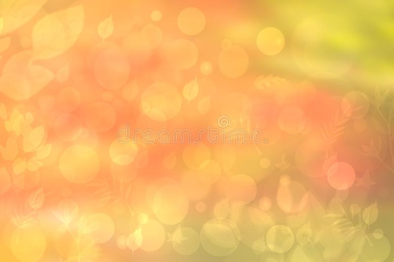Abstract autumn gradient gold yellow pink green bright background texture with leaves and bokeh circles. Indian summer. Card stock illustration