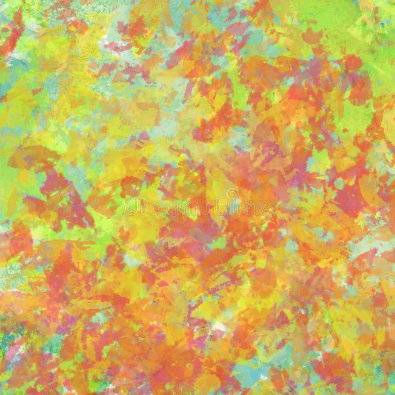 Abstract autumn leaves painted background design with thick paint texture, warm fall colors of red orange and yellow on blue sky. In seasonal colorful stock illustration